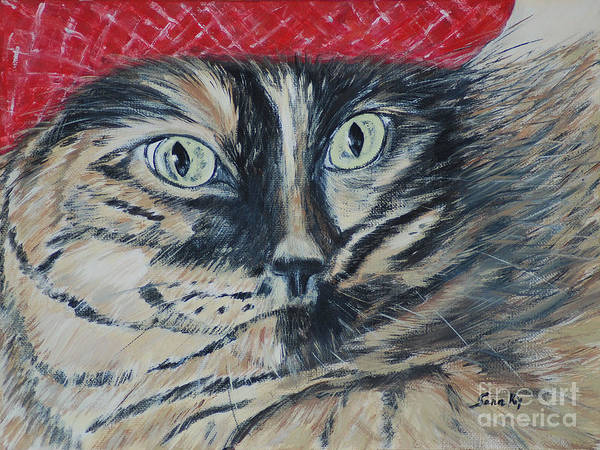 Cat In The Hat Wall Art - Painting - Cat In The Red Beret. Hello Pearl Collection 2015 by Oksana Semenchenko