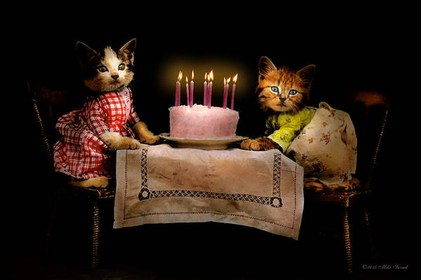 Photograph - Cat - It's Our Birthday - 1914 by Mike Savad