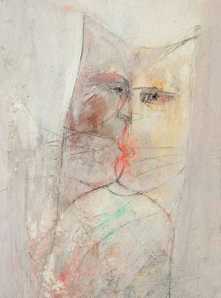 Painting - Cat - Kiss by Anna Skorko