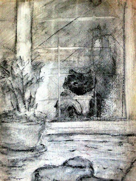 Back Door Painting - Cat Looking In by Rochelle Mayer