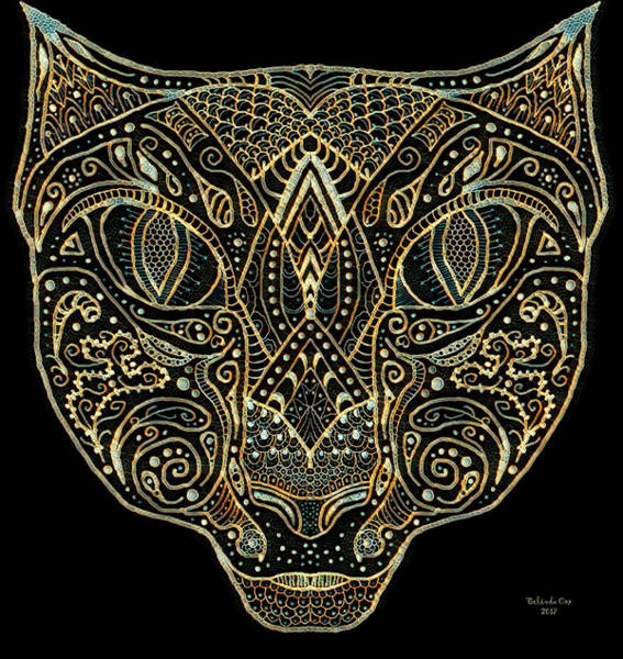Digital Art - Cat Mandala Pineapple The Cat by Artful Oasis