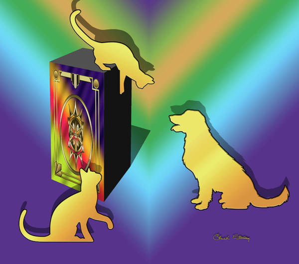 Digital Art - Cat On A Box by Chuck Staley