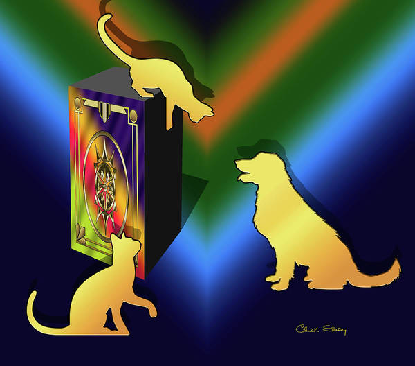 Digital Art - Cat On A Box - Dark by Chuck Staley