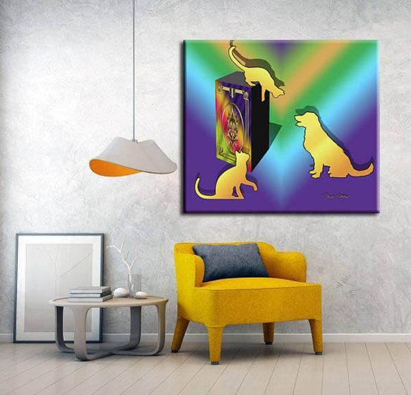 Digital Art - Cat On A Box Print by Chuck Staley