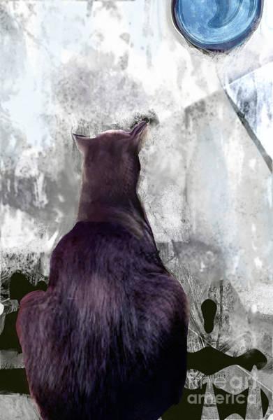 Organic Abstraction Mixed Media - Cat's Blue Moon by Zsanan Studio