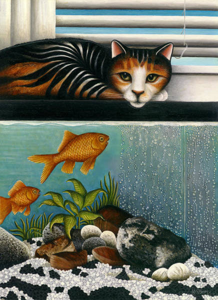 Wall Art - Painting - Cat On Aquarium by Carol Wilson