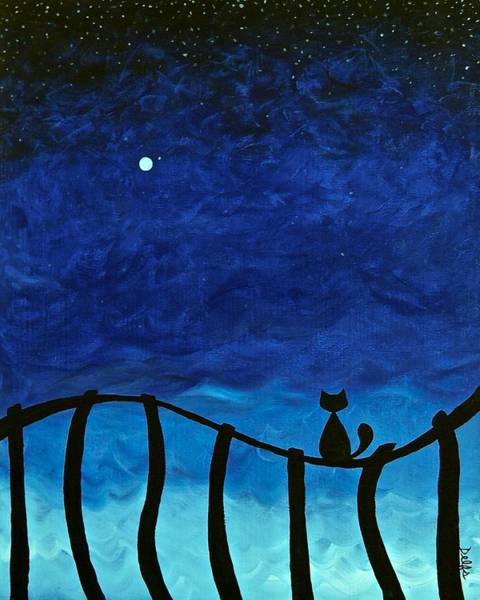 Wall Art - Painting - Cat On Fence by Jenn Delfs