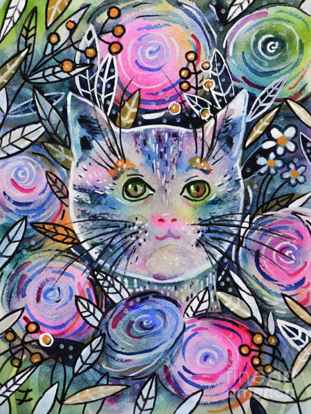 Wall Art - Painting - Cat On Flower Bed by Zaira Dzhaubaeva