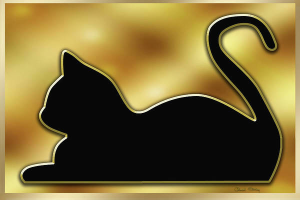 Digital Art - Cat On Gold Background by Chuck Staley