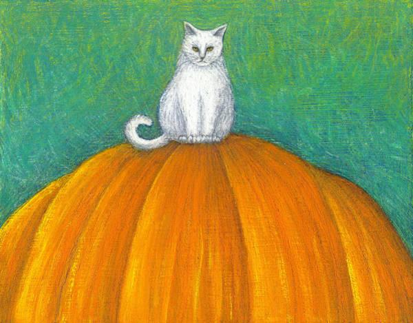 Wall Art - Painting - Cat On Pumpkin by Carol Wilson