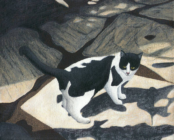 Wall Art - Painting - Cat On Rock Patio by Carol Wilson