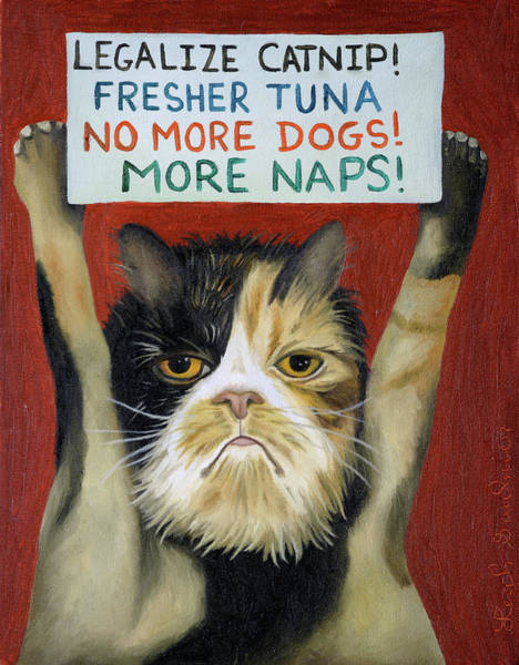 Painting - Cat On Strike by Leah Saulnier The Painting Maniac