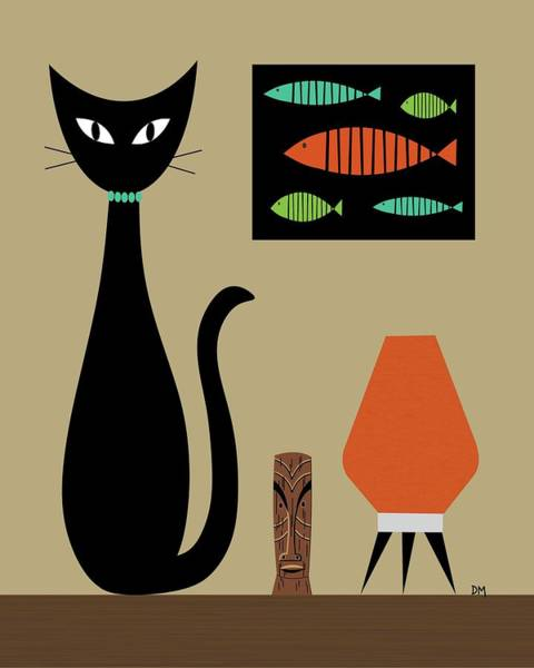 Digital Art - Cat On Tabletop 2 by Donna Mibus