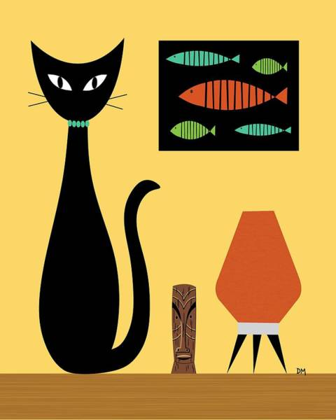 Digital Art - Cat On Tabletop 3 by Donna Mibus