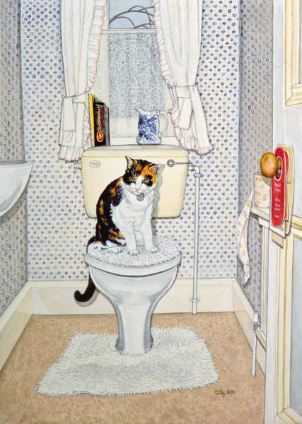 Wall Art - Painting - Cat On The Loo by Ditz
