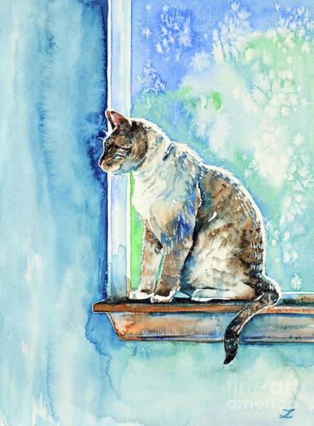 Wall Art - Painting - Cat On The Window by Zaira Dzhaubaeva