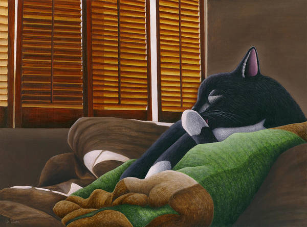 Wall Art - Painting - Cat Paw Lick by Carol Wilson