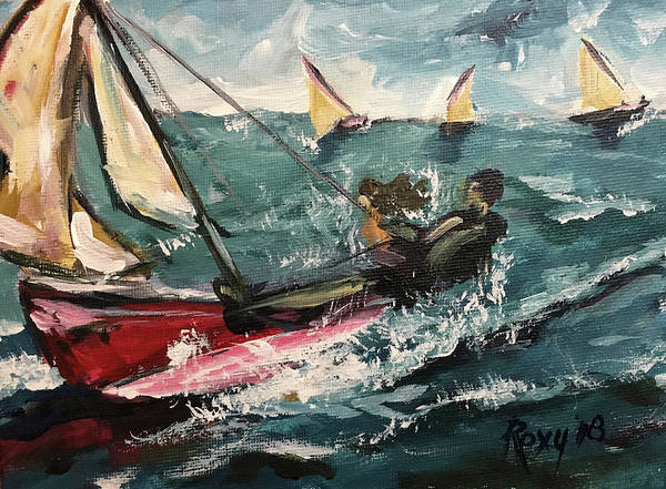Transportation Painting - Cat Sailing by Roxy Rich