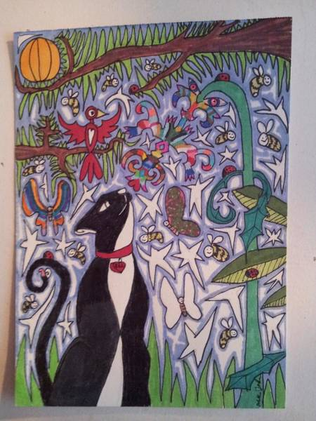 Primary Colors Drawing - Cat Smelling A Flower 10 by William Douglas