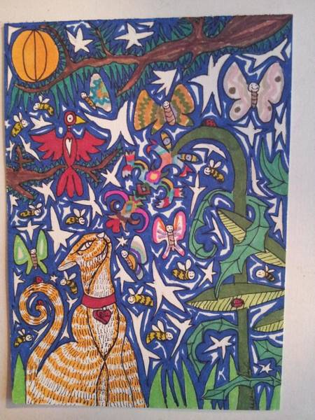 Primary Colors Drawing - Cat Smelling A Flower 12 by William Douglas