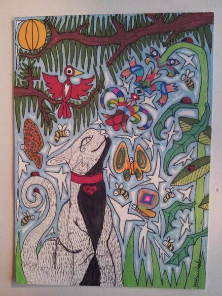 Primary Colors Drawing - Cat Smelling A Flower 5 by William Douglas