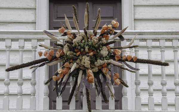 Royal Colony Photograph - Cat Tail And Chinese Lantern Wreath by Teresa Mucha