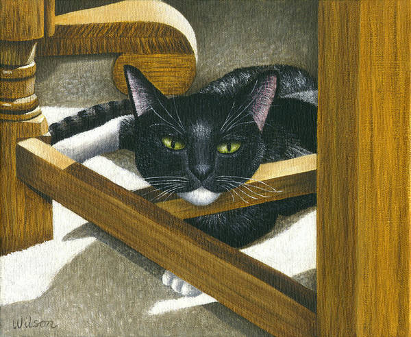 Wall Art - Painting - Cat Under A Chair by Carol Wilson