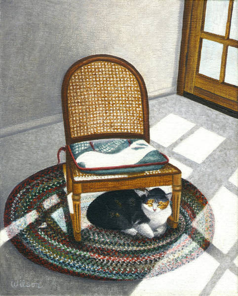 Calico Cat Painting - Cat Under Rocking Chair by Carol Wilson
