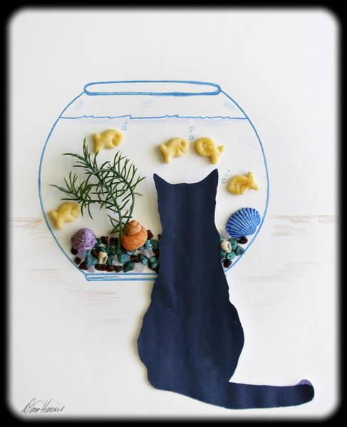 Mixed Media - Black Cat And Goldfish by Diana Haronis