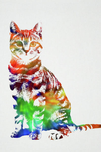 Wall Art - Mixed Media - Cat Wild Animals Of The World Watercolor Series On White Canvas 003 by Design Turnpike