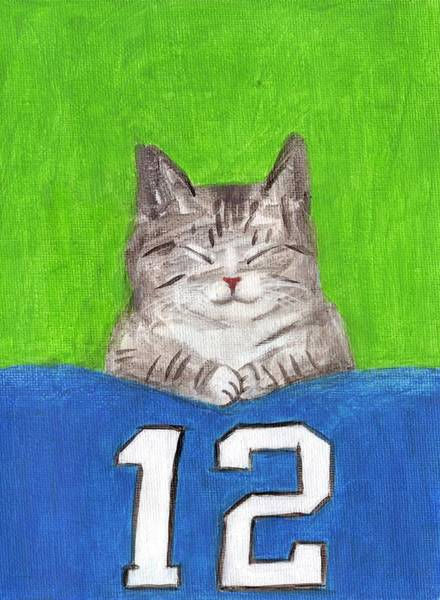 Painting - Cat With 12th Flag by Kazumi Whitemoon