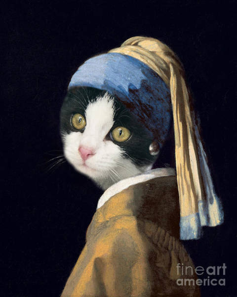 Scarf Wall Art - Painting - Cat With A Pearl Earring by Delphimages Photo Creations