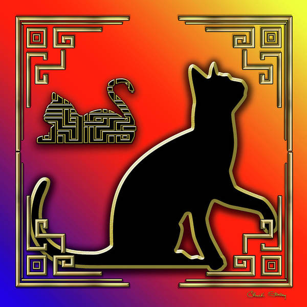 Digital Art - Cat With Art Deco Border by Chuck Staley