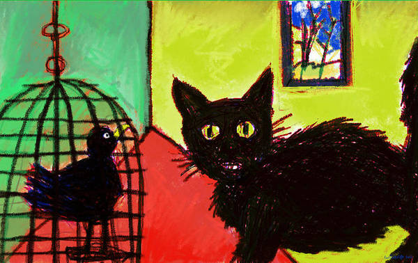 Digital Art - Cat With Bird  by Paul Sutcliffe