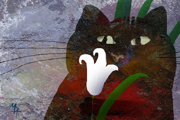 Painting - Cat With Lily by Attila Meszlenyi