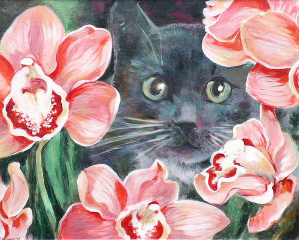 Wall Art - Painting - Cat With Orchids by Ekaterina Mortensen