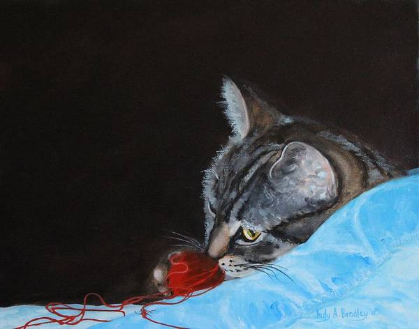 Cat With Red Yarn Art Print