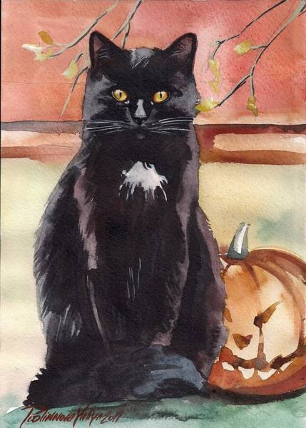 Wall Art - Painting - Cat With The Pumpkin by Yuliya Podlinnova