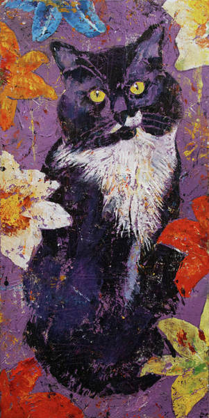 Tuxedo Cat Painting - Cat With Tiger Lilies by Michael Creese