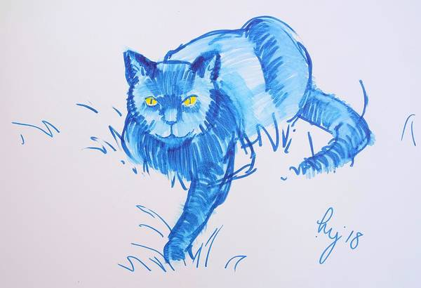 Drawing - Cat With Yellow Eyes Lying In Grass by Mike Jory