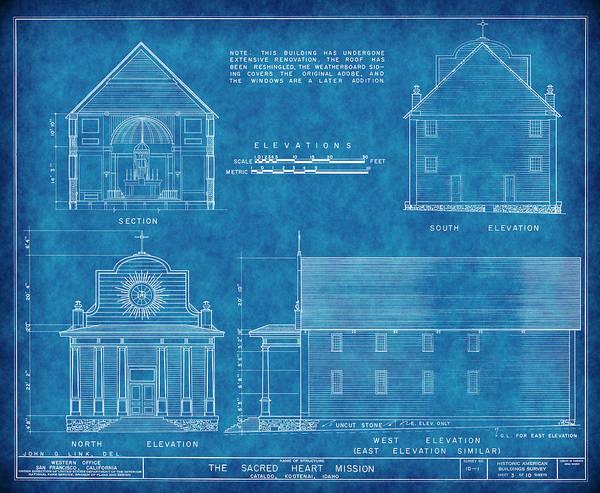 Sacred Heart Digital Art - Cataldo Mission Blueprint - Idaho by Daniel Hagerman