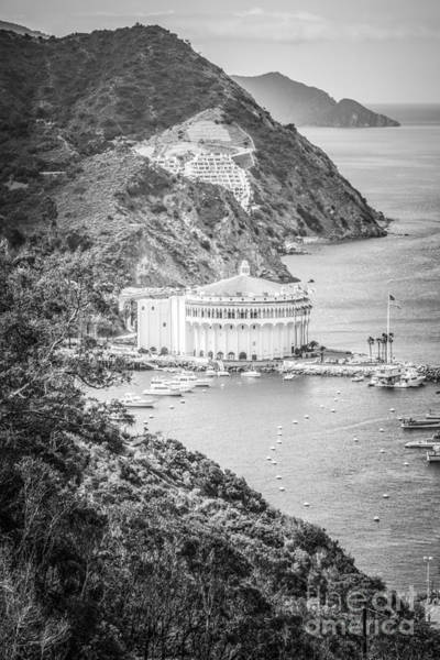 Avalon Wall Art - Photograph - Catalina Casino Black And White Aerial Picture by Paul Velgos