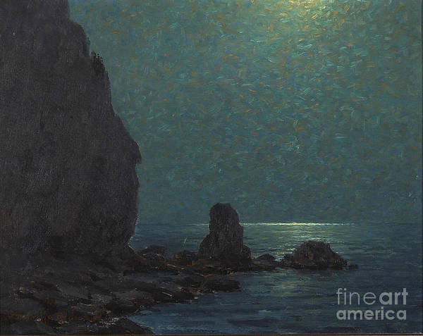 Catalina Island Coast Under A Moonlit  Art Print