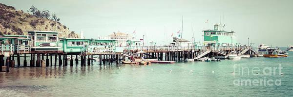 Wall Art - Photograph - Catalina Island Pier Retro Panorama Photo by Paul Velgos