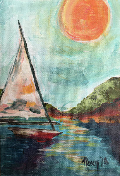 Transportation Painting - Catalina Sail by Roxy Rich