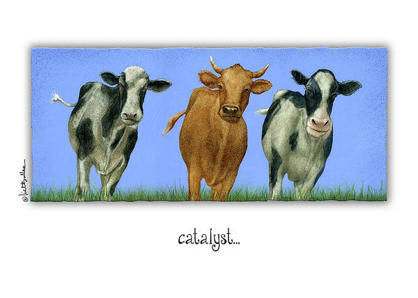 Cows Wall Art - Painting - Catalyst... by Will Bullas