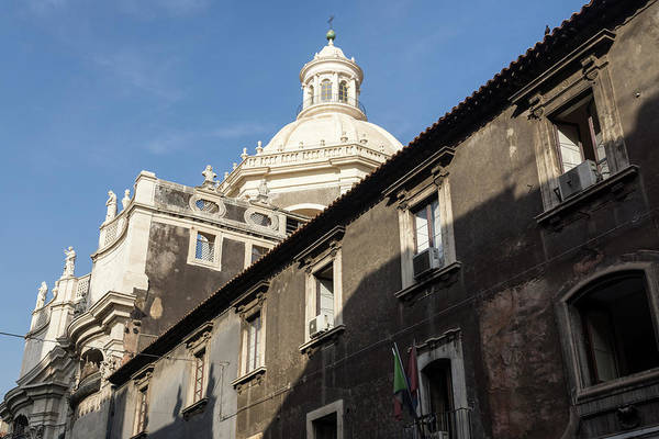 Photograph - Catania Cathedral Saint Agatha - A Study Of Shadows And Contrasts by Georgia Mizuleva