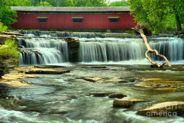 Photograph - Cataract Covered Bridge Above The Falls by Adam Jewell