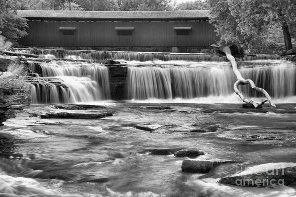 Photograph - Cataract Covered Bridge Above The Falls Black And White by Adam Jewell