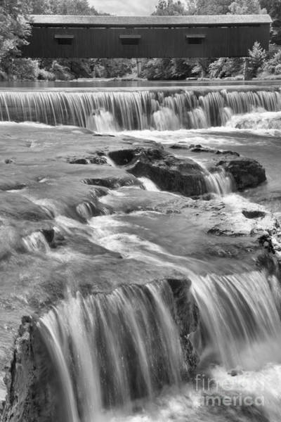 Photograph - Cataract Falls Bridge Portrait Black And White by Adam Jewell